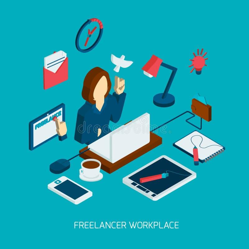Freelance Workplace Isometric royalty free illustration