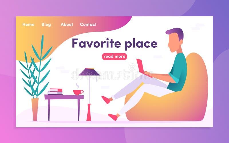 Freelancer στον εργασιακό χώρο Νέος επιχειρηματίας που εργάζεται στο lap-top του ελεύθερη απεικόνιση δικαιώματος