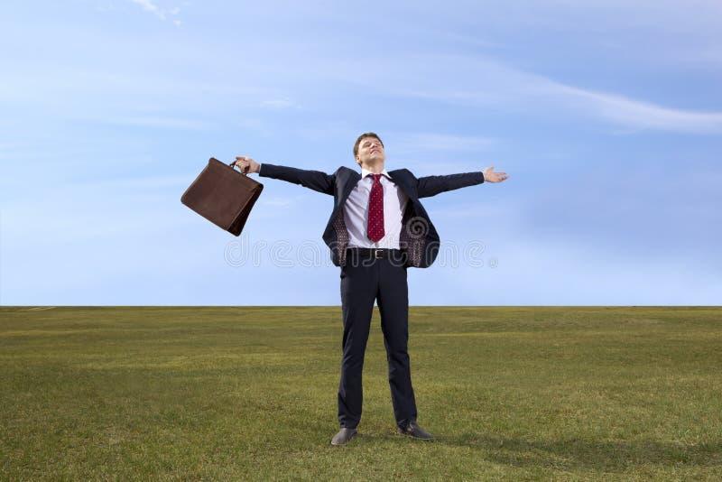 freelancer Бизнесмен стоя на зеленом луге с briefcas стоковая фотография rf