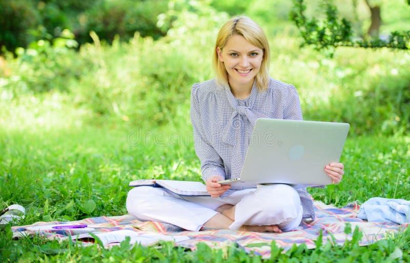 Freelancer acertado convertido La mujer con el ordenador port?til se sienta en prado de la hierba de la manta Concepto independie imagen de archivo