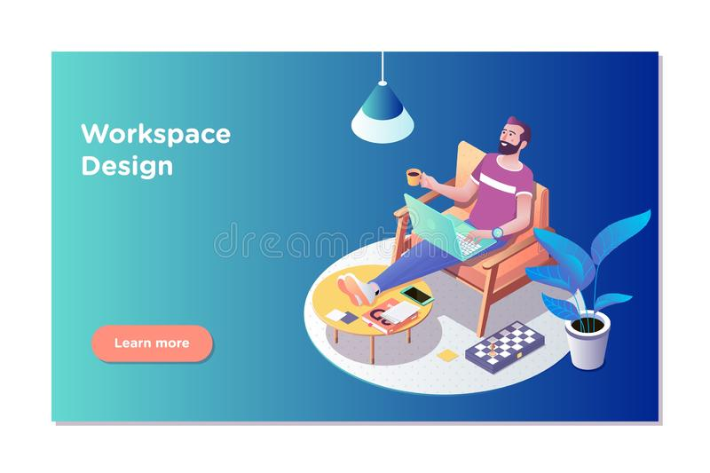Freelancer concept, coworking people. Freelancer man at his laptop easely in working office. Flat isometric vector stock illustration