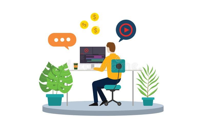Freelancer contento del creador o del editor de vídeo con el ordenador portátil y corregir video de la cronología libre illustration