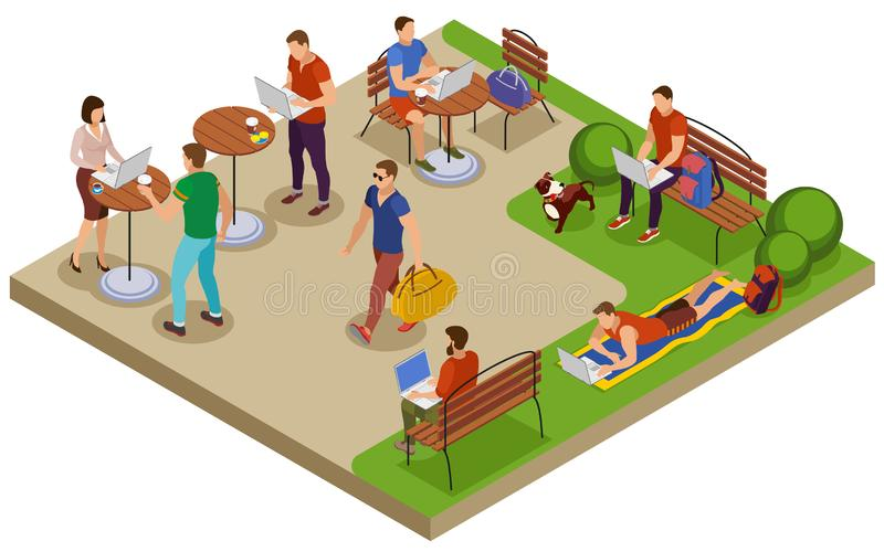 Freelancer Day Isometric Compositon. Freelancer typical summer day isometric composition with outdoor workplace in city park lawn cafe table vector illustration stock illustration