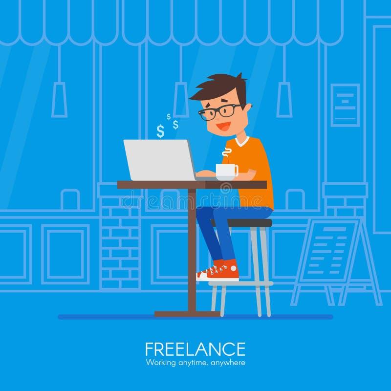 Freelancer de sexo masculino que trabaja remotamente de su escritorio Ejemplo del vector en diseño plano del estilo Ministerio de libre illustration