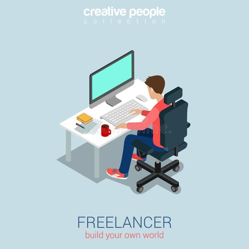 Freelancer en el concepto infographic isométrico del web plano 3d del trabajo libre illustration