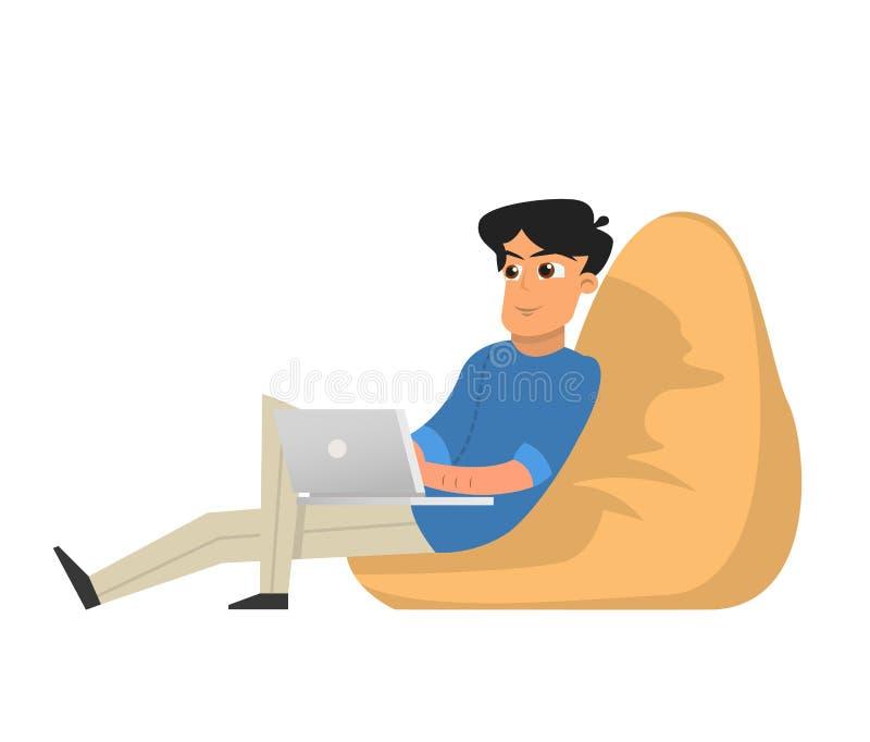 Freelancer för ung man som arbetar med bärbara datorn som sitter i fåtölj vektor illustrationer