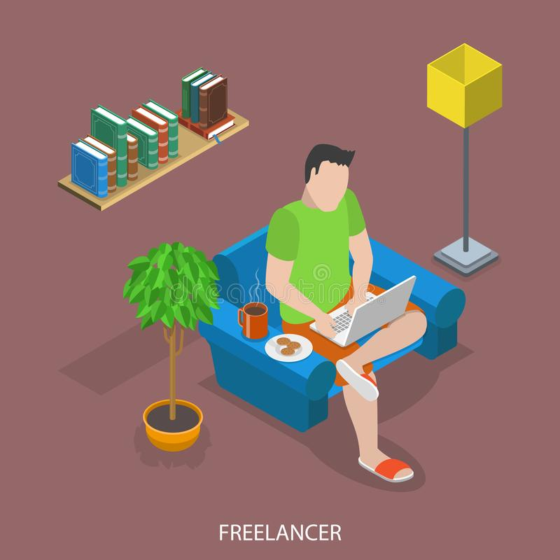 Freelancer flat isometric vector concept. Man is working remotly at home sitting in an armchair with tea and cookies stock illustration