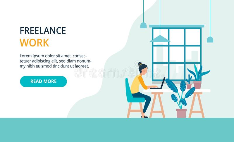 Freelancer girl with notebook, easely working in cafe. Modern bright banner, site template with place for your text. stock illustration