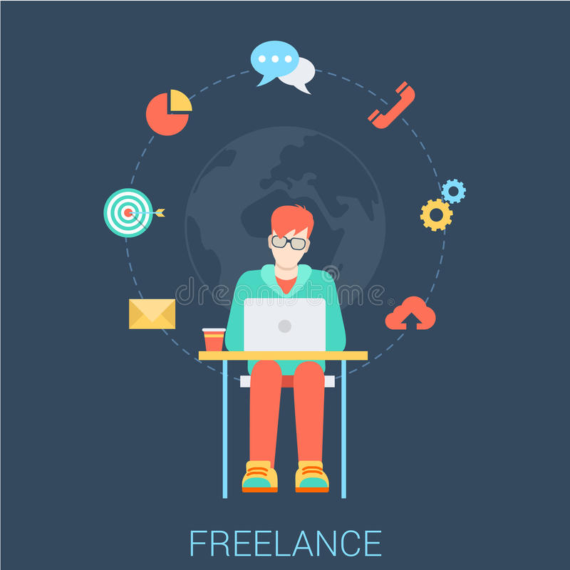 Freelancer with laptop - freelance work flat vector infographic. Freelance work flat web infographic concept vector. Young stylish freelancer man with laptop stock illustration