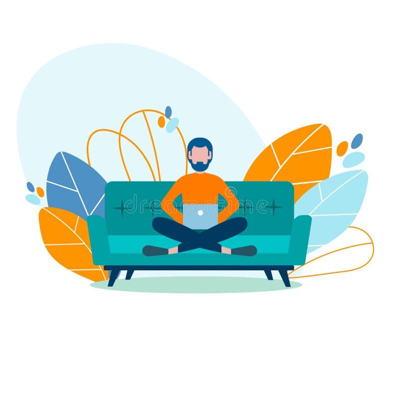 Freelancer moderno joven del estudiante, el estudiar, trabajando en casa en el th stock de ilustración