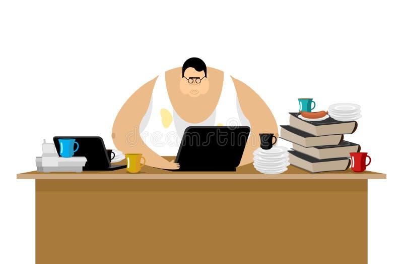 Freelancer przy pracą Zagracenie i komputer Daleka praca Pracować ho ilustracji