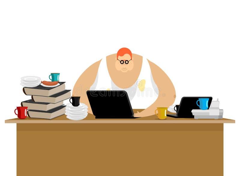 Freelancer przy pracą Zagracenie i komputer Daleka praca Pracować ho royalty ilustracja