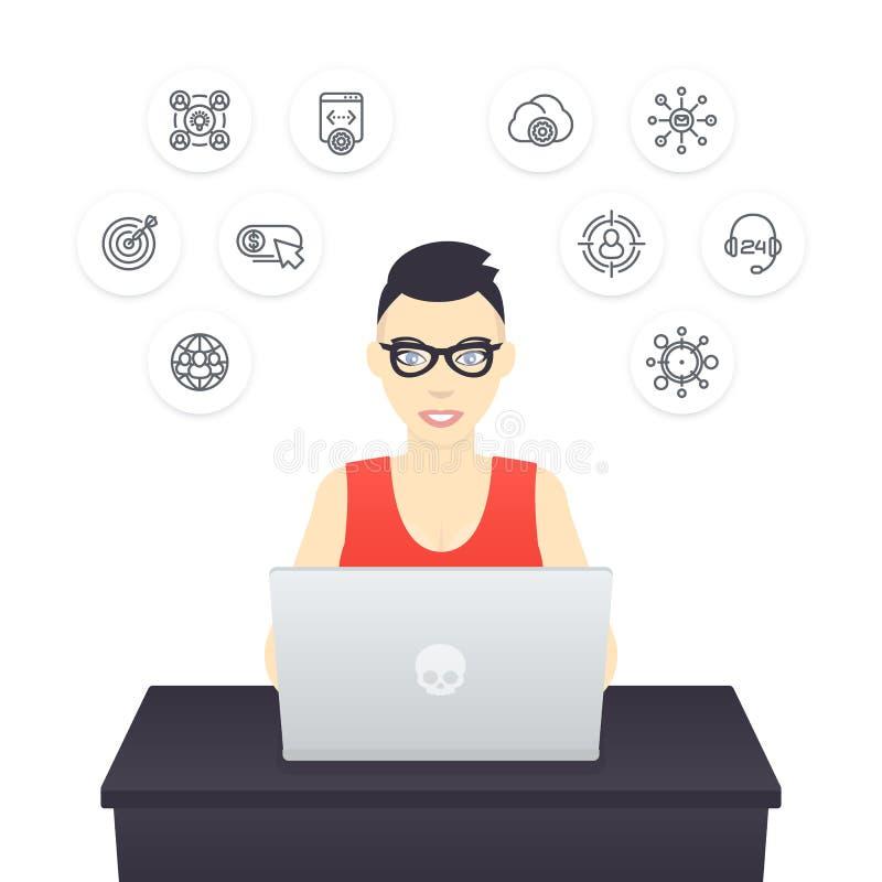 Freelancer que trabaja con el ordenador portátil stock de ilustración