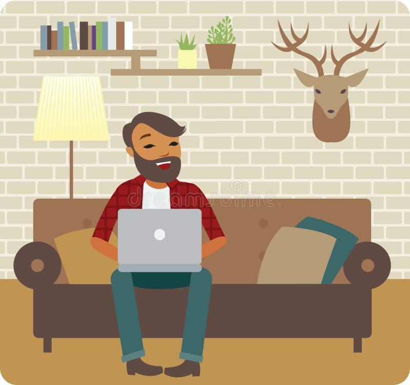 Freelancer que trabaja en casa stock de ilustración