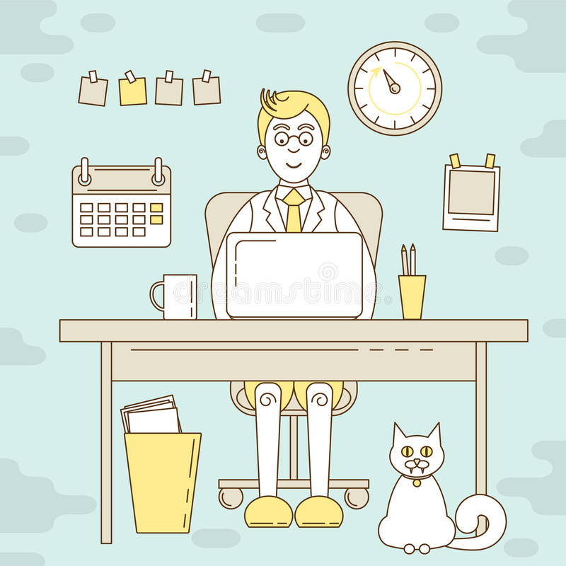 Freelancer que trabaja en el ordenador ilustración del vector