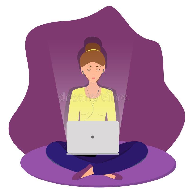 Freelancer que trabalha e que datilografa no portátil ilustração do vetor