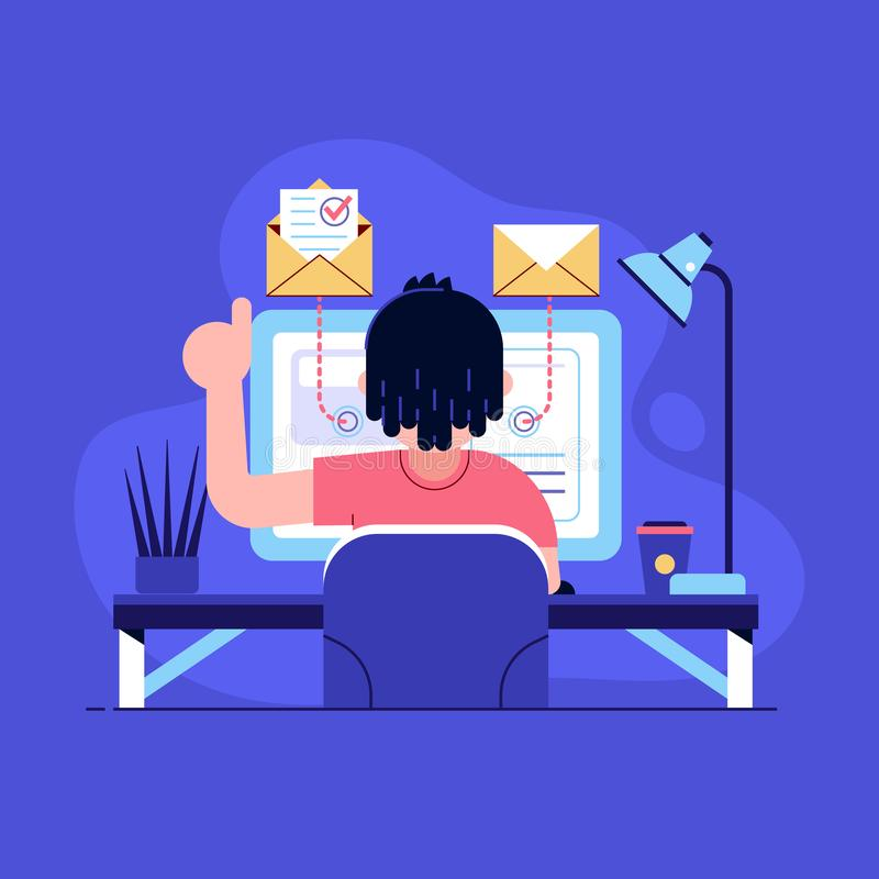 Freelancer Working on Laptop at Home stock illustration