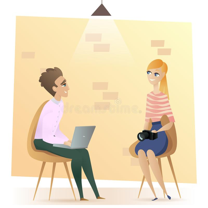Freelancer Sitting in Modern Coworking Open Space. Smiling Man on Chair Working with Laptop. Female Freelance Worker with Camera in Shared Workplace. Flat stock illustration