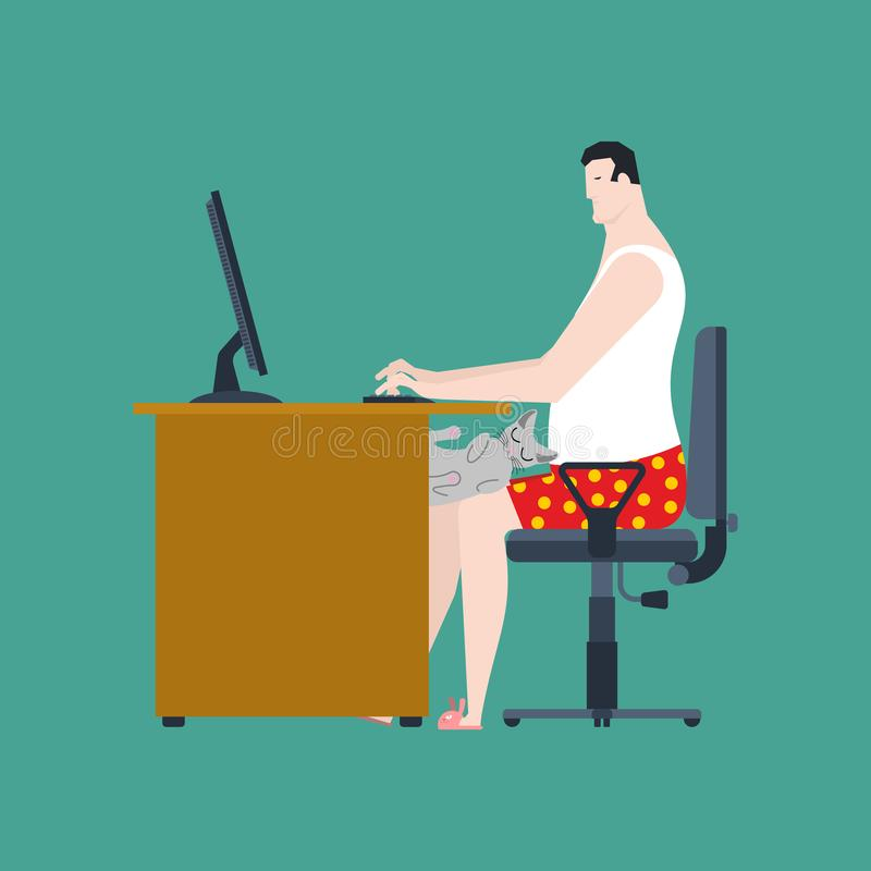 Freelancer som arbetar på tabellen Avlägset arbete jobbskrivbord med datoren stock illustrationer
