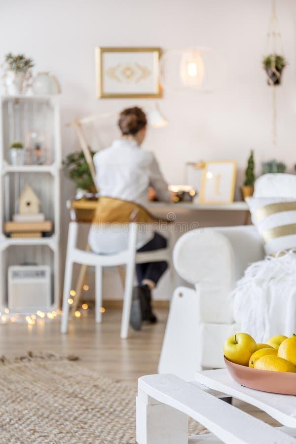 Freelancer som hemma arbetar royaltyfria bilder
