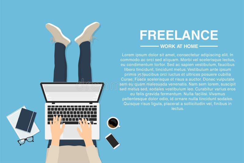 Freelancer som hemma arbetar med bärbara datorn, bästa sikt Begrepp av avlägset arbete eller arbete hemma royaltyfri illustrationer
