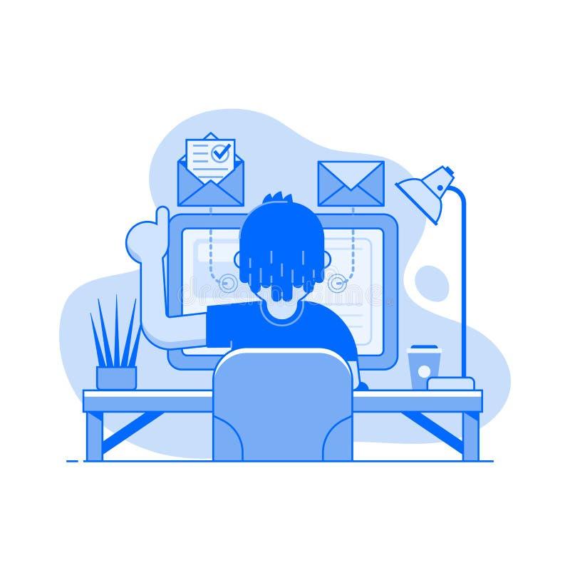 Freelancer som hemma arbetar på bärbara datorn royaltyfri illustrationer