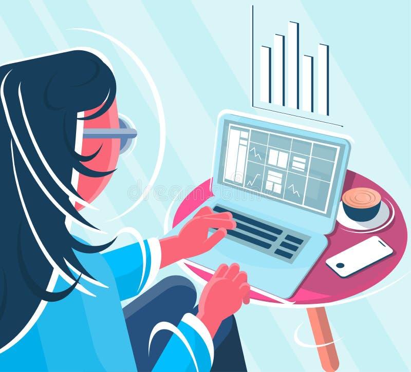 Freelancer voor de computerillustratie vector illustratie