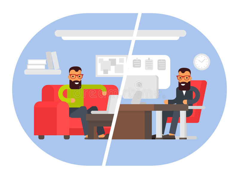Freelancer vs business office. Comparing remote work with freelance working place. Flat design vector illustration. Freelancer vs business office worker royalty free illustration