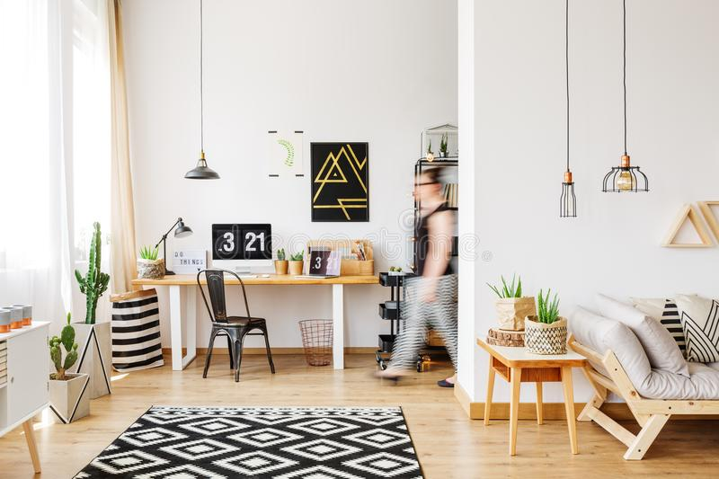 Spacious work area with chair royalty free stock photos