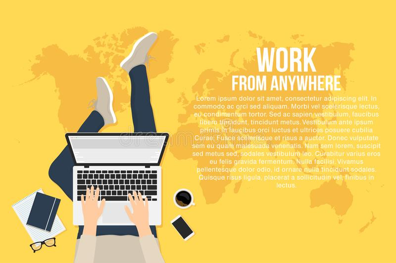 Freelancer is working at home with laptop, top view. Concept of remote working and work from anywhere vector illustration