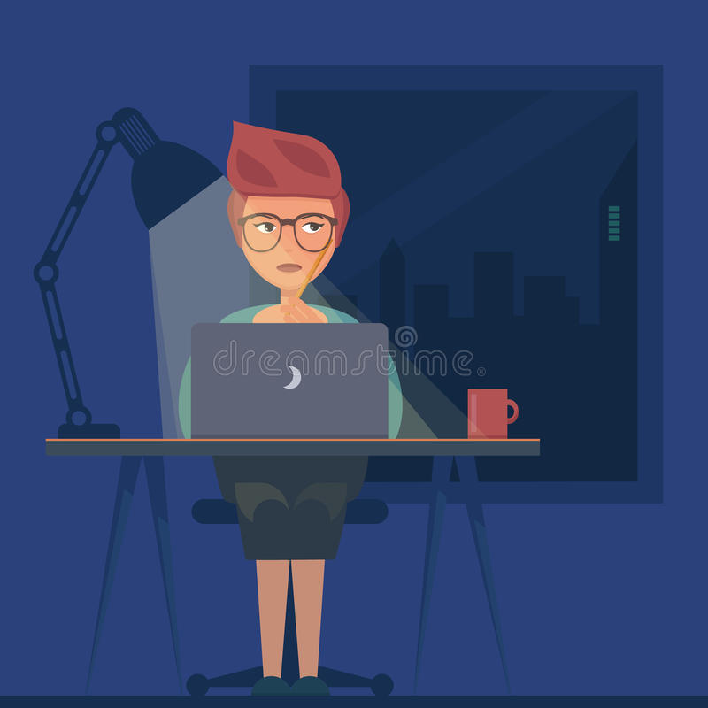 Freelancer working at night concept vector illustration
