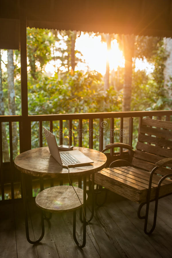 Freelancer Working Place In Wooden Balinese House Stock
