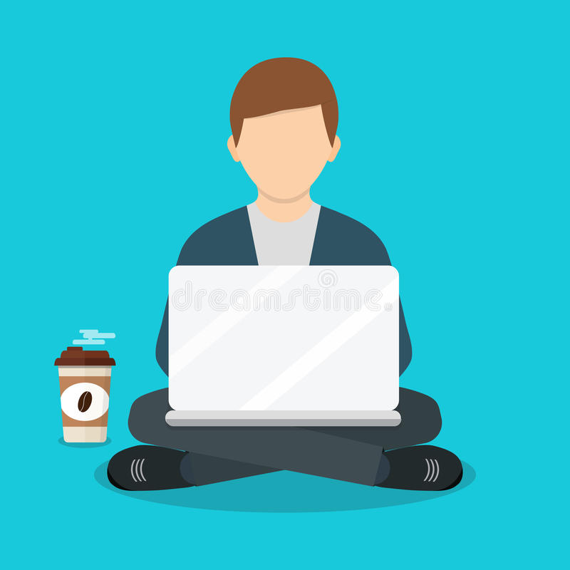 Freelance man working with laptop on armchair. Freelance job. Freelancer works. Vector illustration of a flat design. Freelance man working with laptop on stock illustration