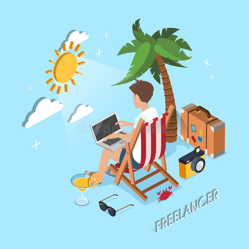 Freelancerbegrepp vektor illustrationer