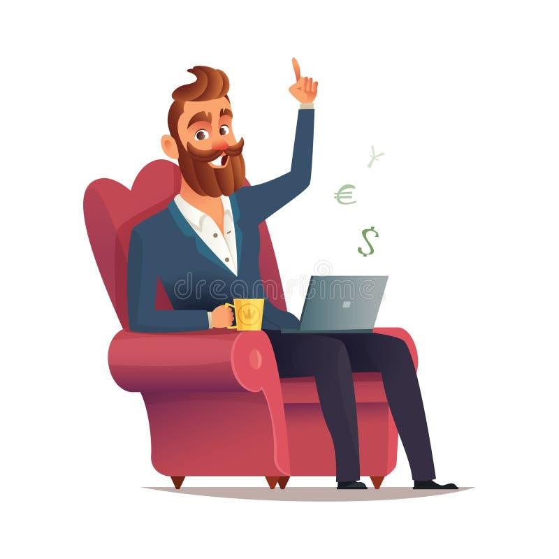 Freelancerplatsen i en stol och tjänar pengar Inrikesdepartementetarbetsplats Hipsteren uppsökte freelanceren som avlägset arbeta royaltyfri illustrationer