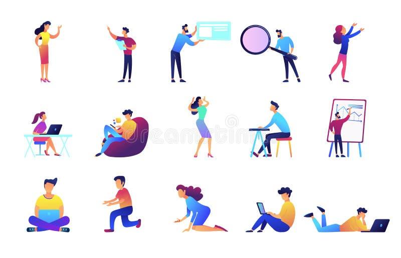 Freelancers en zakenlieden vector geplaatste illustraties vector illustratie