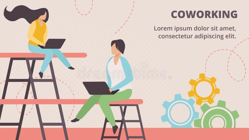 Freelancers que trabajan en línea en el espacio de Coworking stock de ilustración