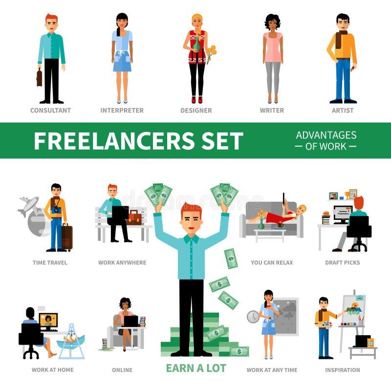 Freelancersuppsättning med fördelar av arbete royaltyfri illustrationer
