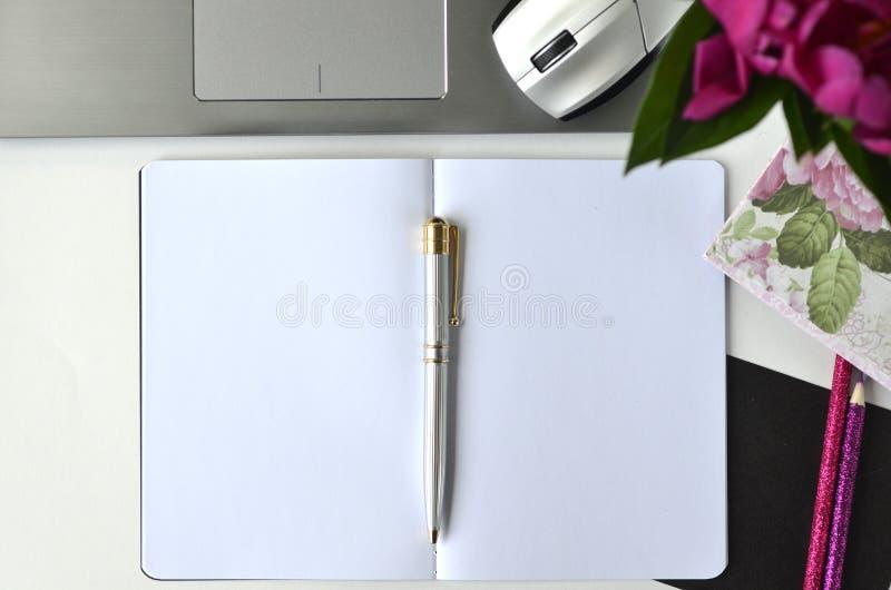 Freelancing e trabalhar da casa Desktop feminino do estilo de vida e dos trabalhos criativos imagem de stock