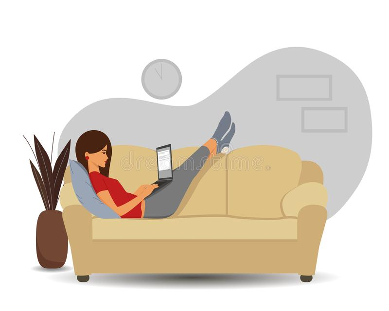 Freelancing work of a girl on the computer vector illustration