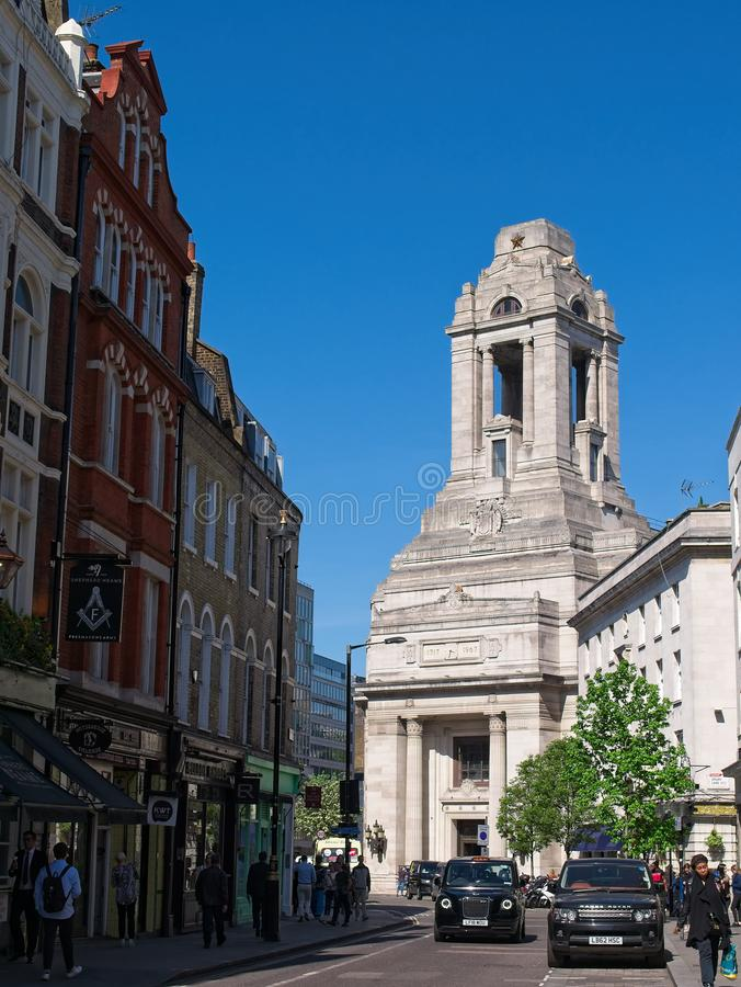Freemasons Hall, the headquarters of the United Grand Lodge and Supreme Grand Chapter of Royal Arch Masons of England. Freemasons Hall, the headquarters of the royalty free stock images