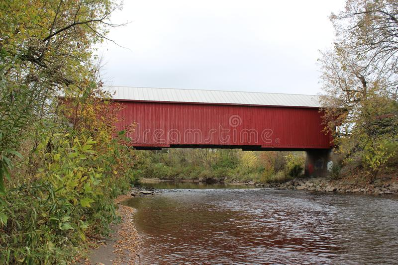 Covered Bridge. Freeport Covered Bridge in Cowansville over Yamaska River in Quebec stock photos