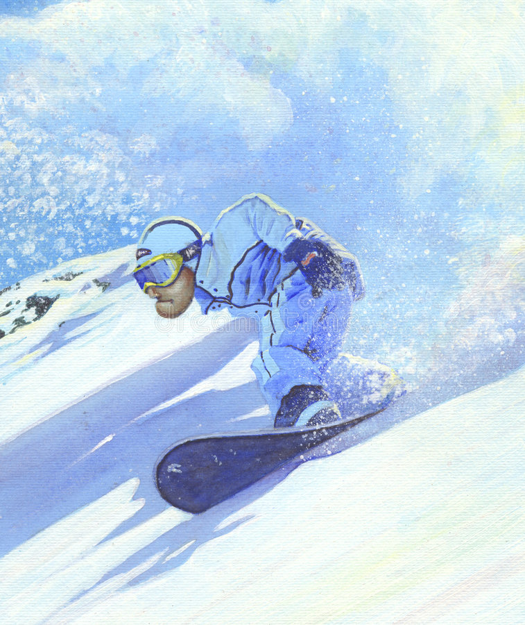 Freeride 2008. Hand made illustration of a snowboarder