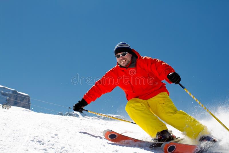 Freeride en nieve fresca del polvo imagen de archivo libre de regalías