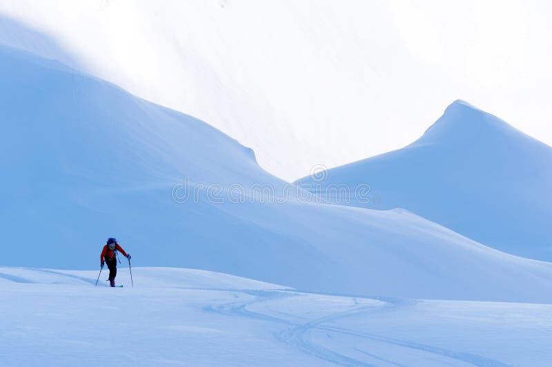 Freeride skidar i de Transylvanian fj?ll?ngarna arkivfoto