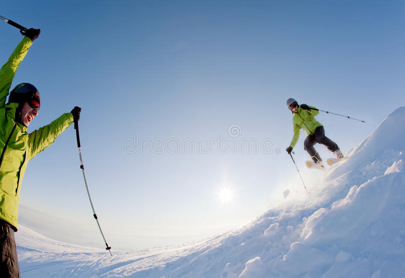 Download Freeride skier stock photo. Image of frozen, green, clear - 12431074
