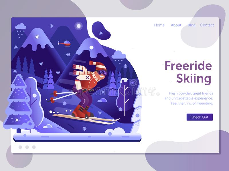 Freeride Skiing Ski Resort Landing Page vector illustration