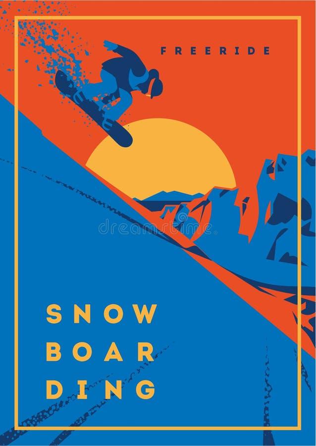 Freeride snowboarder στην κίνηση Αθλητικό αφίσα ή έμβλημα στοκ φωτογραφίες