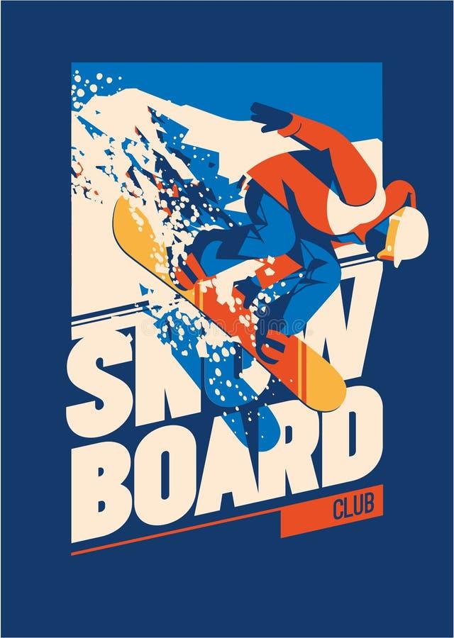 Freeride-Snowboarder in der Bewegung Sportplakat oder -emblem lizenzfreie abbildung
