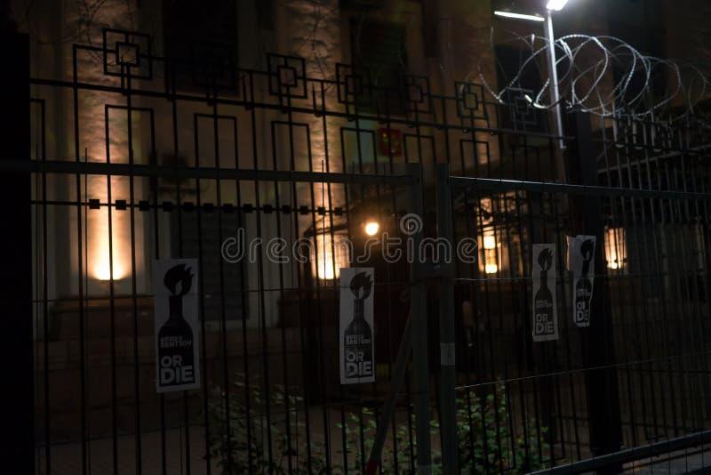 FreeSentsov-Nachtklage auf Stützukrainischen Filmemacher Oleg Sentsov stockbilder